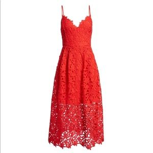 ASTR the label red lace midi dress in a size small